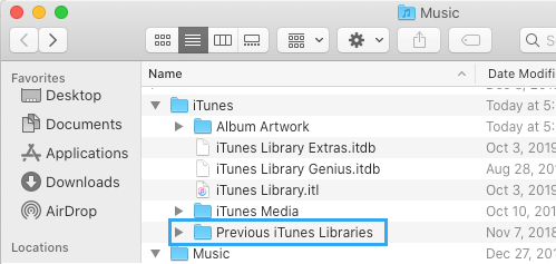 Previous iTunes Libraries Folder in Windows