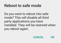 Android Reboot to Safe Mode Option