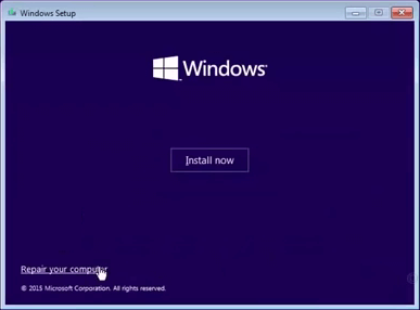 Repair Your Computer Option in Windows 10
