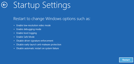 Windows 10 Startup Settings Screen