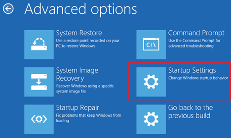 Advanced Option Screen in Windows 10