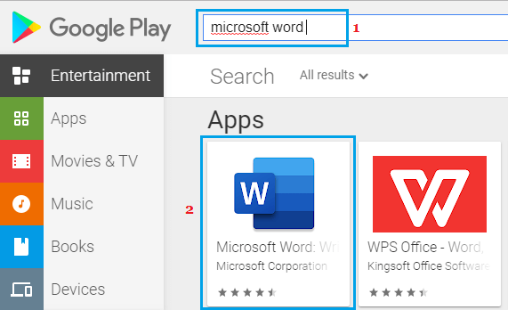 Search Microsoft Word on Google Play Store