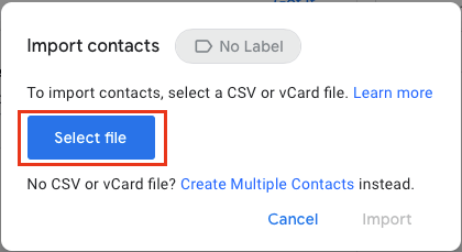 Select Contacts File to Import