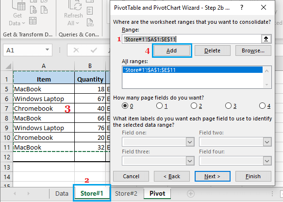 Select First Data Range For Pivot Table