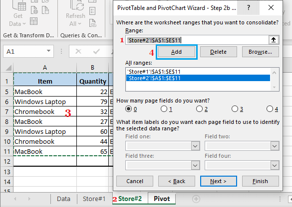 Select Second Data Range For Pivot Table