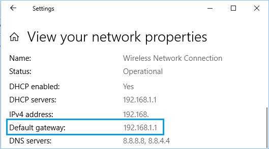 Network Properties Screen
