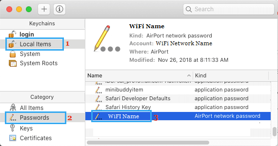 WiFi Network Name on Keychain Local Items Screen