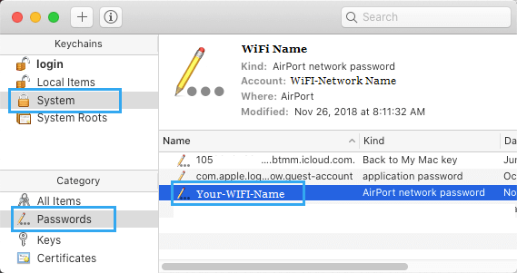 WiFi Network Name on Keychain System Screen