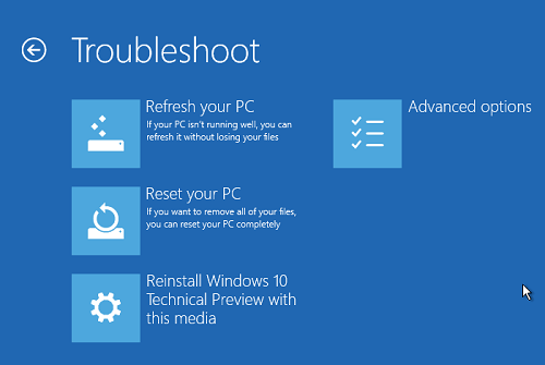 Windows 10 Troubleshoot Options