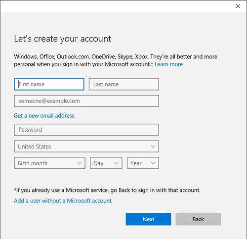 Create New User Account in Windows 10