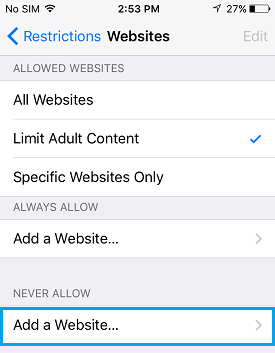 Add Website to Block List iPhone
