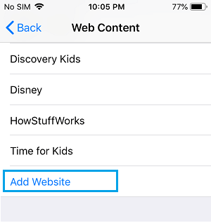 Add Website to Allow List on iPhone