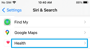 Apps on Siri and Search Settings Screen on iPhone