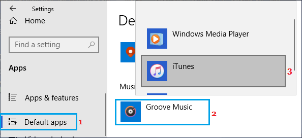 Set Default Music App on Windows PC