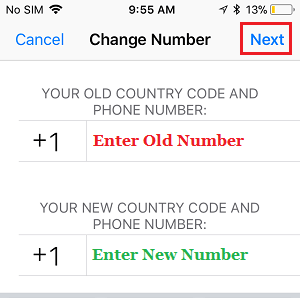 Change Phone Number Screen in WhatsApp iPhone