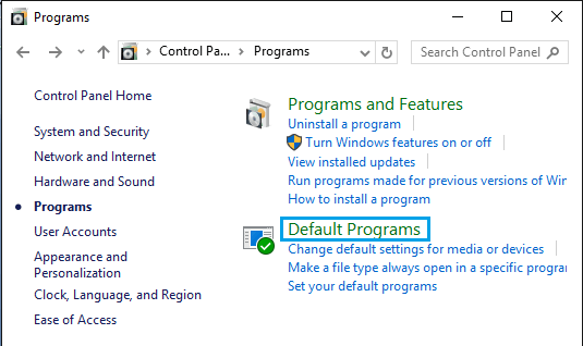 Default Programs Option in Windows Control Panel