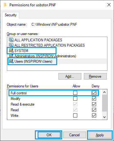 Configure User Permissions For usbstor.PNF File