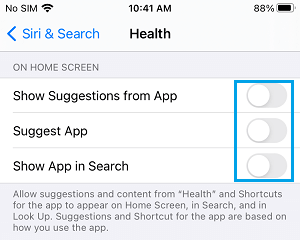 Disable Siri Suggestions for Health App on iPhone