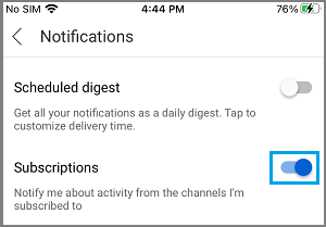Enable Notifications from Subscribed Channels on YouTube