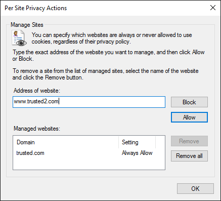 Per Site Privacy Options in Internet Explorer