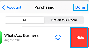 Hide Purchases Apps on App Store