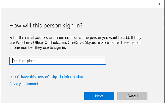 Sign In Options For Windows 10 User Account