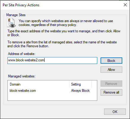 Disable Cookies For Certain Sites on Internet Explorer