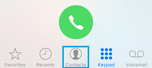 Contacts Tab on iPhone
