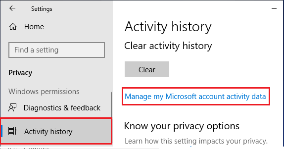 Manage My Microsoft Account Activity Data Option in Windows 10