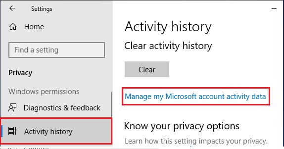 Manage My Microsoft Account Activity Data Option in Windows 10