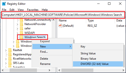 Create New DWORD in Windows Search Folder