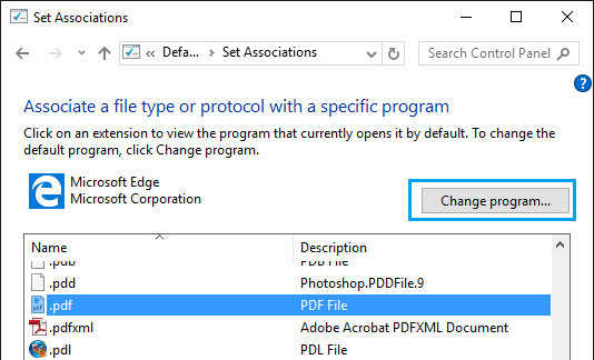 Change Default Programs in Windows 10
