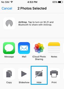 Hide Photos Option iOS 9