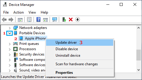 Update Apple iPhone Device Driver on Windows PC