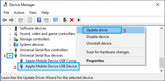 Update Apple Mobile USB Device Driver on Windows PC