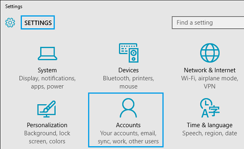 Accounts Option in Windows 10 Settings Screen