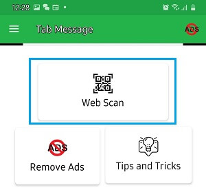 Web Scan Option Tab Message App