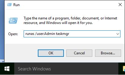 Run Command Dialogue Box in Windows 10