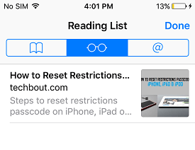 Access Safari Reading List on iPhone