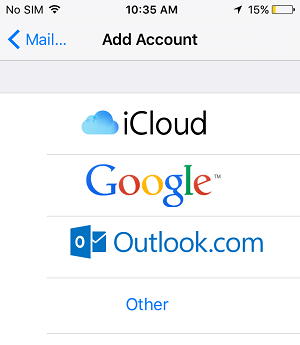 Choose Email Account Type on iPhone