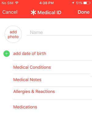Screen to Add Medical Information on iPhone