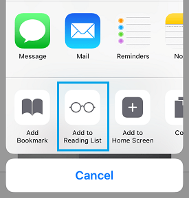 Add to Reading List Option on iPhone