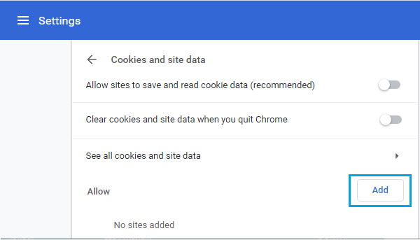 Add Website to Allow Cookies in Chrome Browser