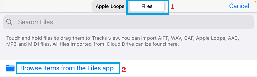 Browse Items from Files App Option in GarageBand