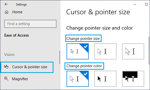 Change Pointer Size and Colour