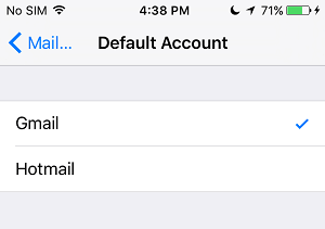 Choose Default Account on iPhone