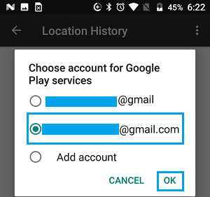 Choose Google Account on Android Phone