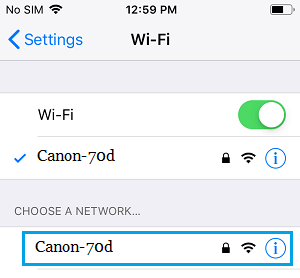 Connect iPhone to Camera WiFi Network