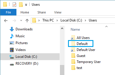 Default User Folder in Windows 10