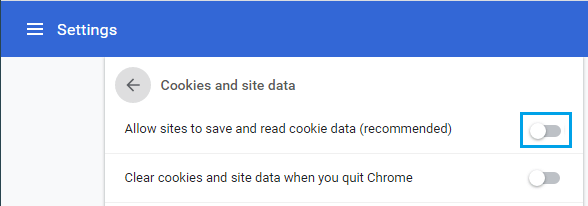 Disable All Cookies in Chrome Browser